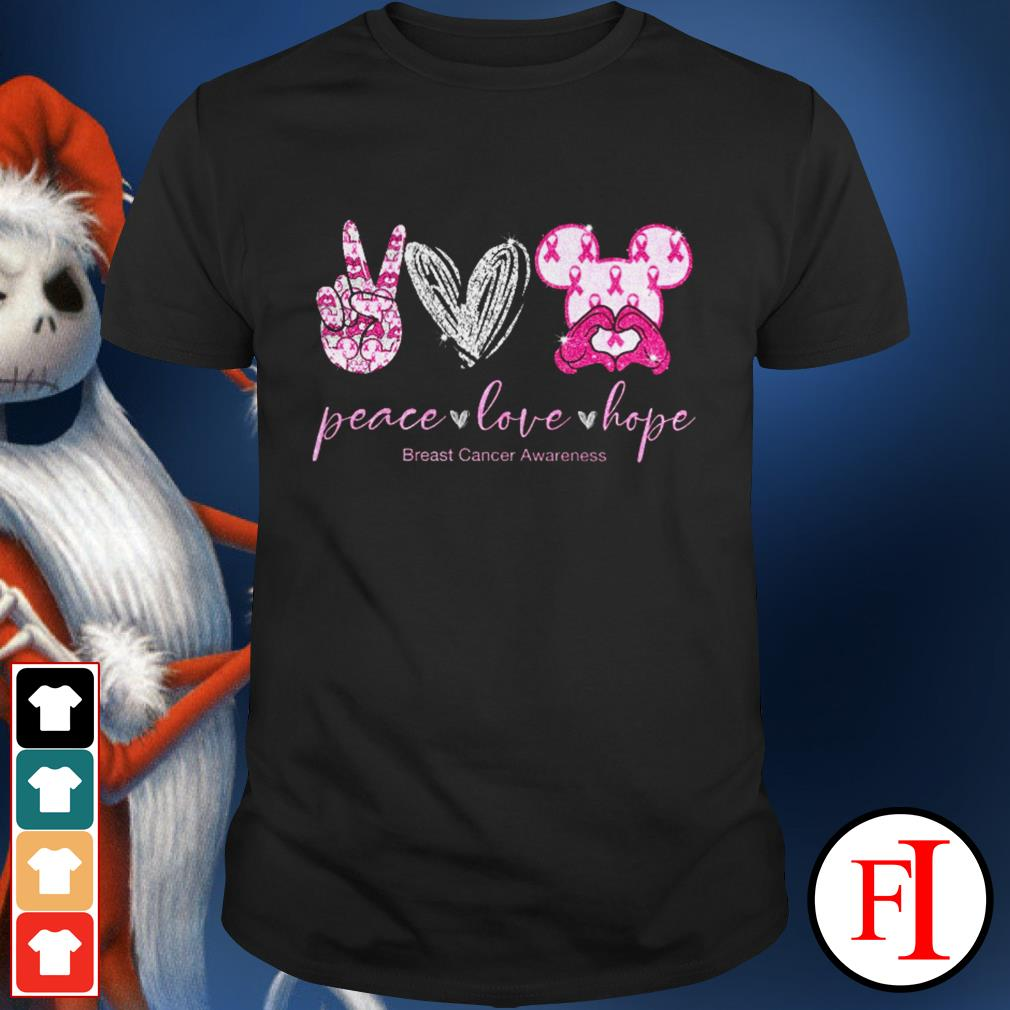 Peace love hope breast cancer awareness Mickey Mouse shirt