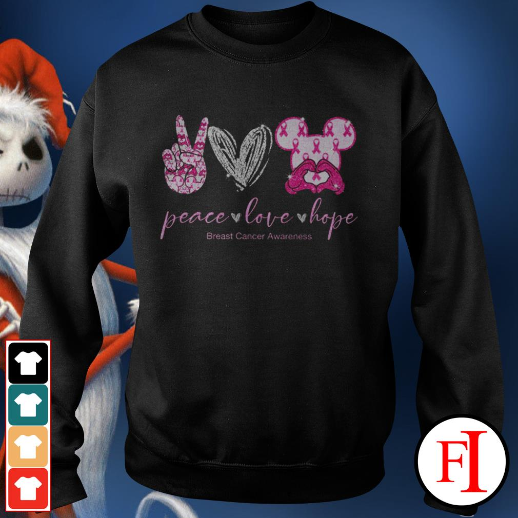 Peace love hope breast cancer awareness Mickey Mouse Sweater