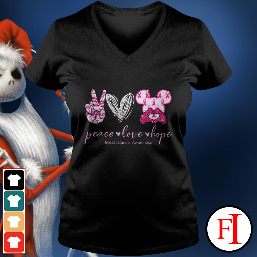Peace love hope breast cancer awareness Mickey Mouse V-neck t-shirt