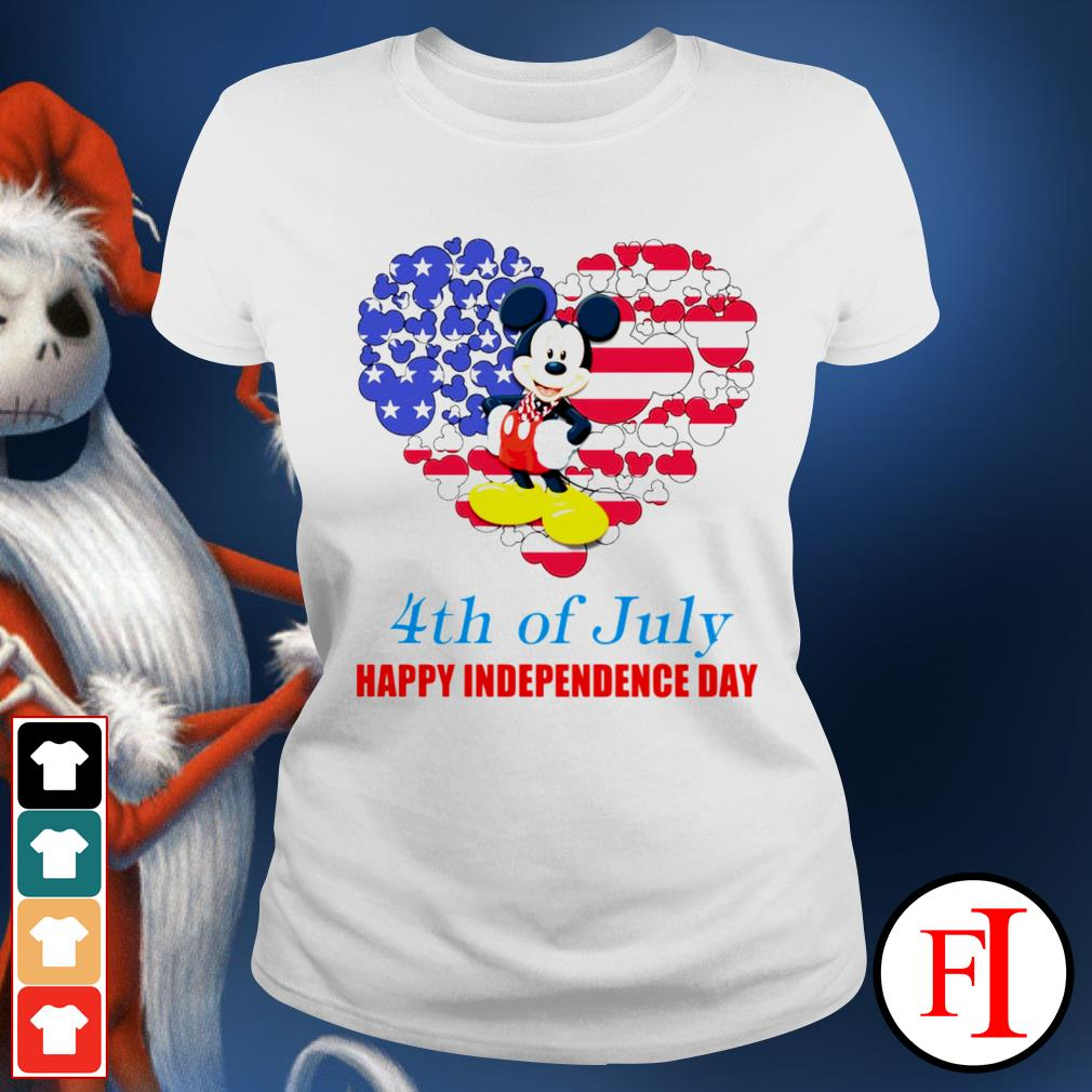 4th of July Happy Independence day Mickey mouse white Ladies tee