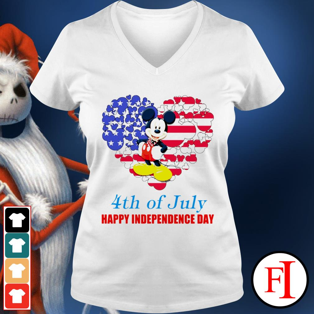 4th of July Happy Independence day Mickey mouse white V-neck t-shirt