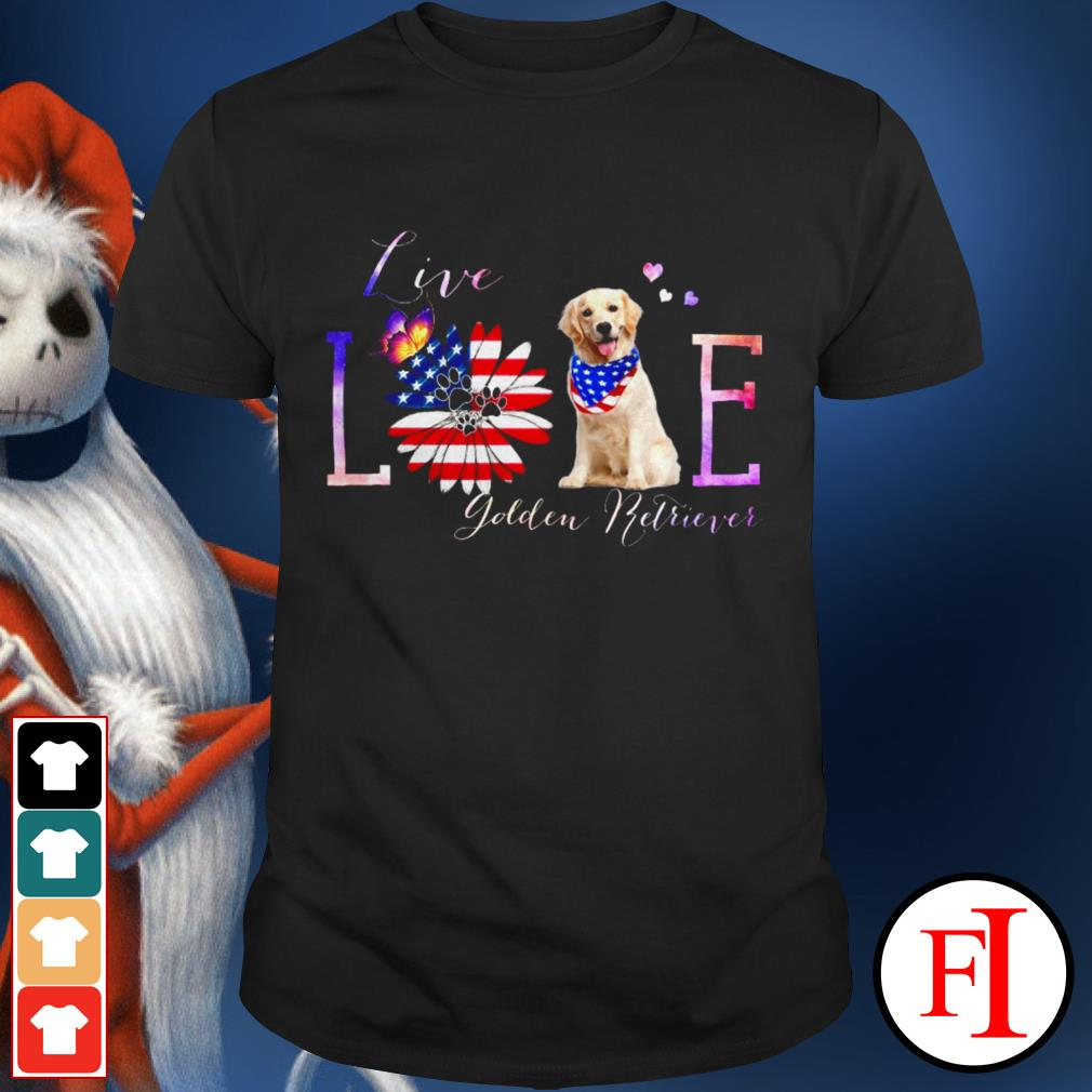 American Flag live love Golden Retriever black shirt