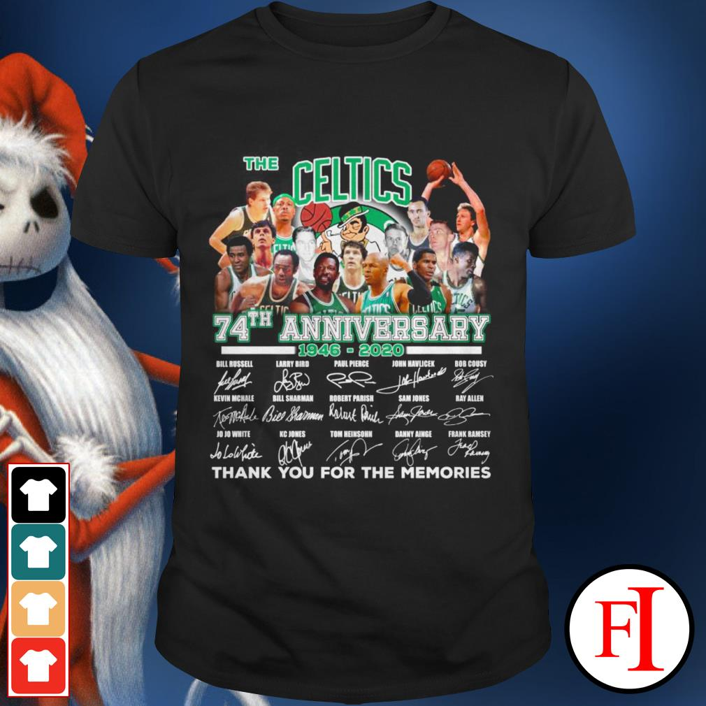 Anniversary 1946-2020 thank you for the memories signatures The Boston Celtics 74th shirt