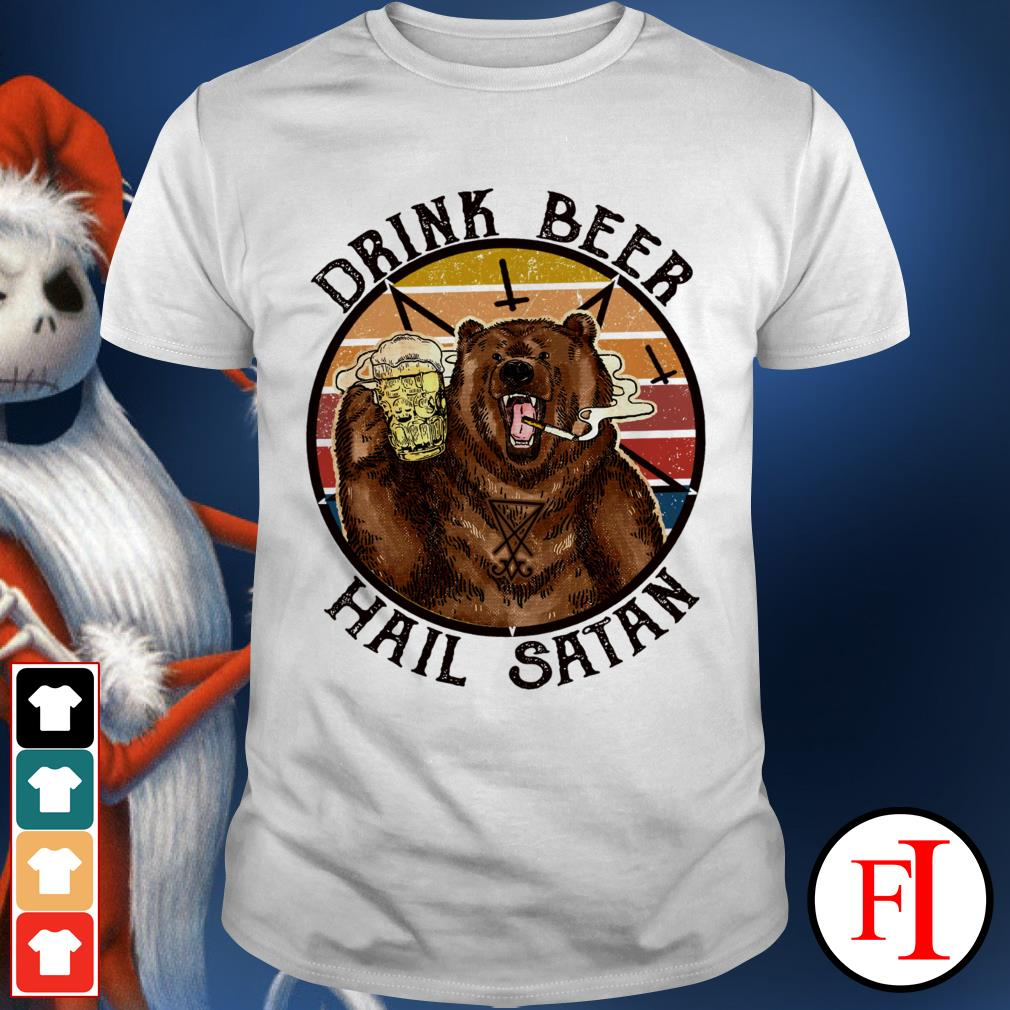 Bear drink beer hail Satan sunset black shirt