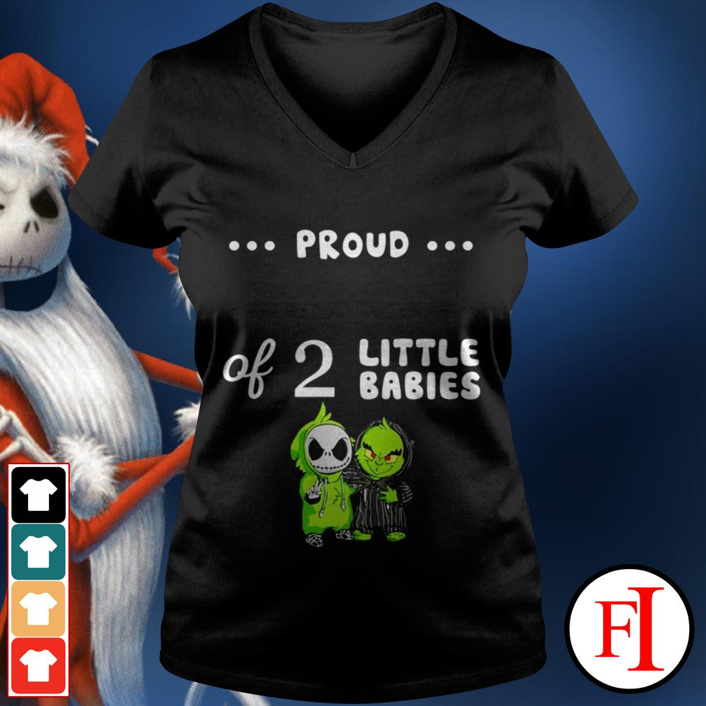 Love Baby Skellington and Baby Grinch proud of 2 little babies V-neck t-shirt