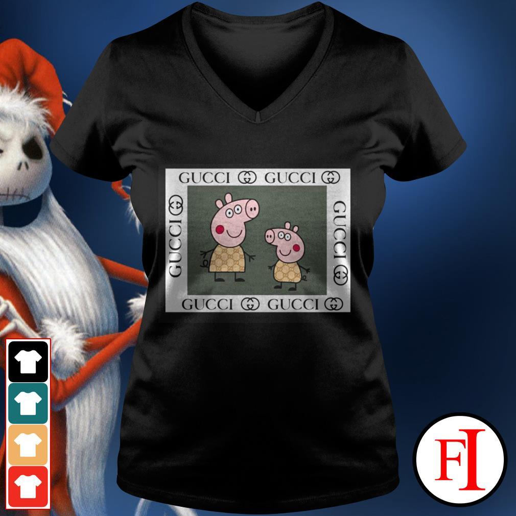 Love Peppa pig Gucci black V-neck t-shirt