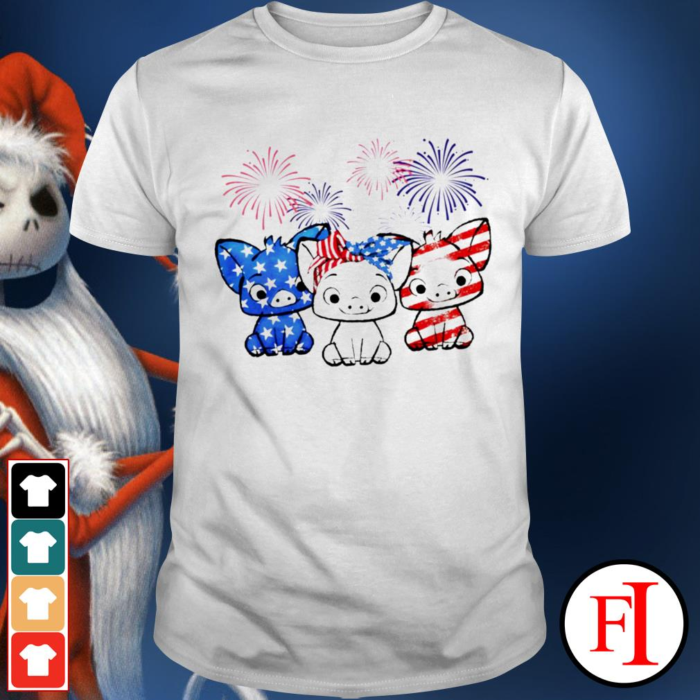 Love Three pigs red white blue USA Flag Firework 4th of July white shirt