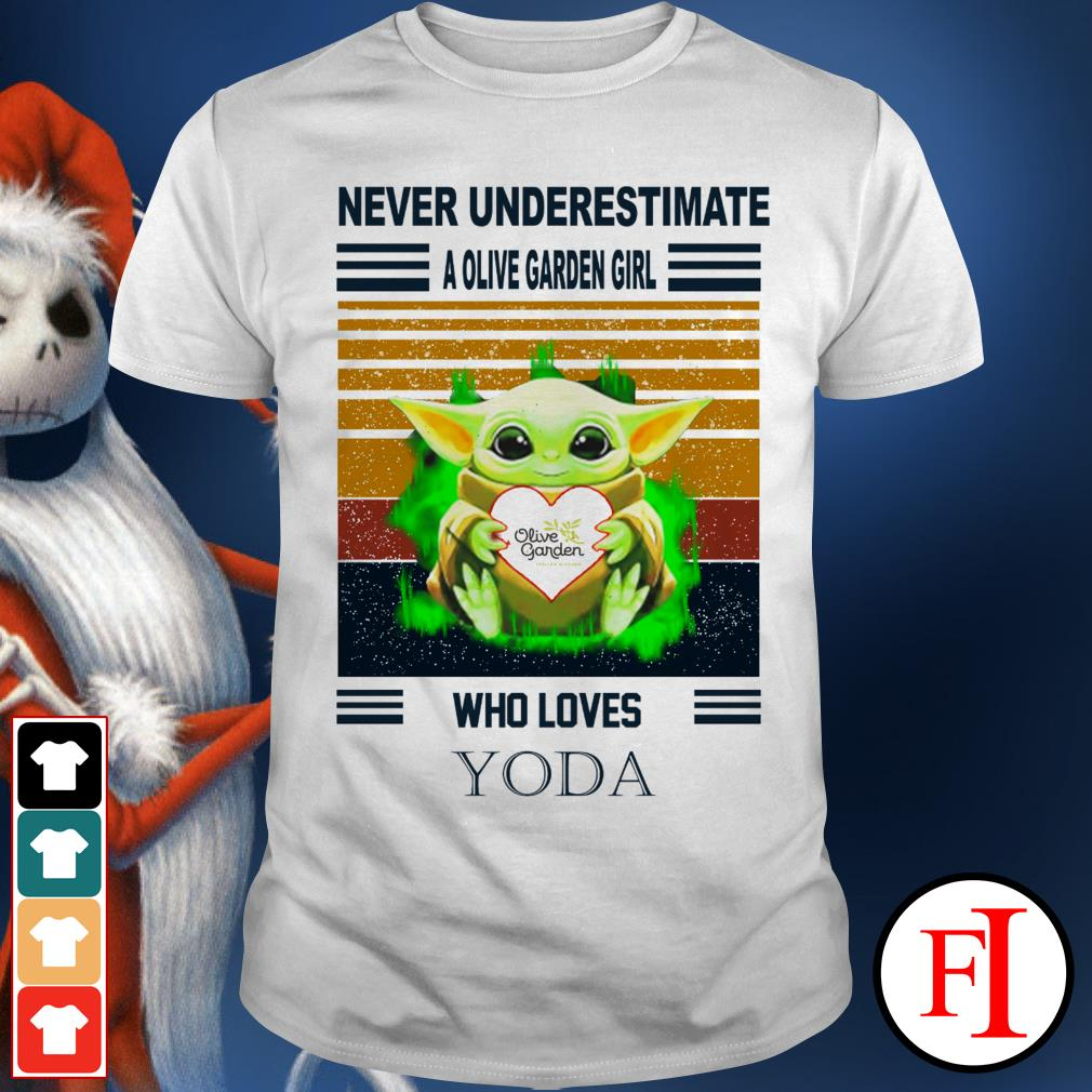 Never underestimate a Olive garden girl who loves Yoda sunset white shirt