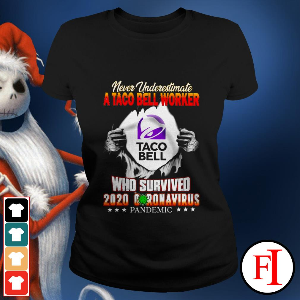 Never underestimate a taco bell worker who survived 2020 Coronavirus pandemic black Ladies tee