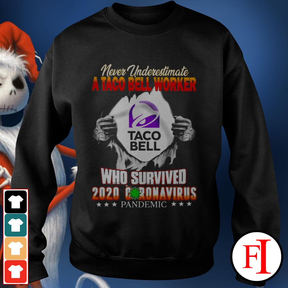 Never underestimate a taco bell worker who survived 2020 Coronavirus pandemic black Sweater