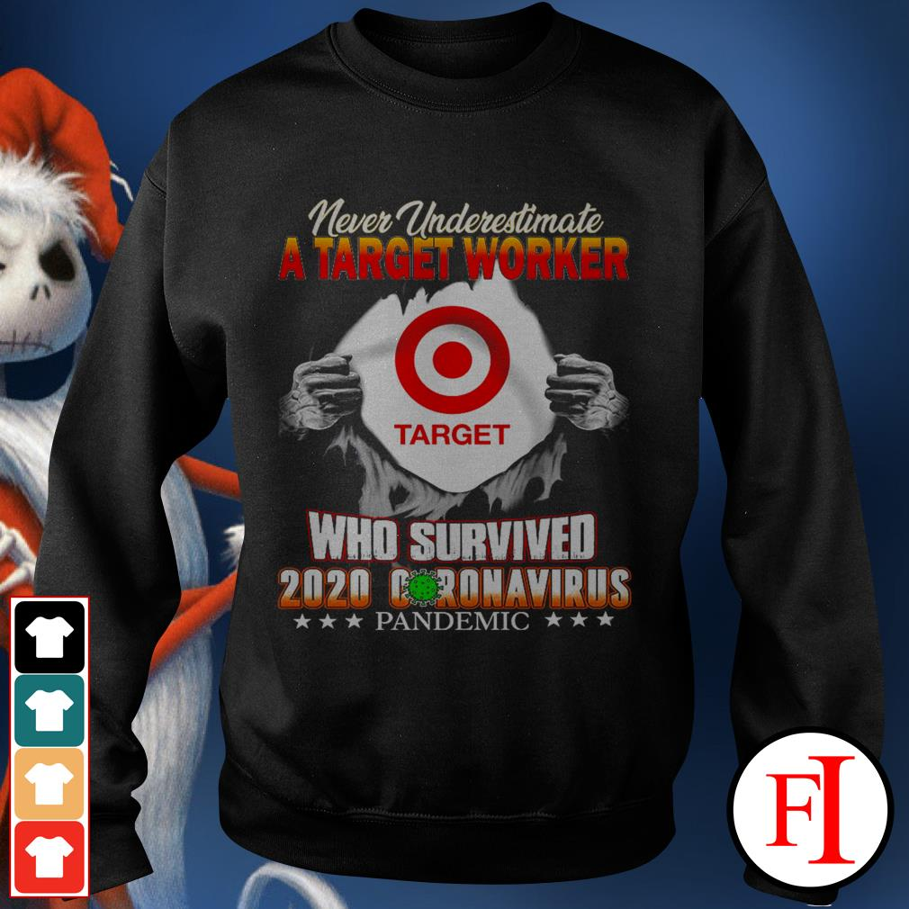 Official Never underestimate a Target Worker who survived 2020 Coronavirus pandemic black Sweater