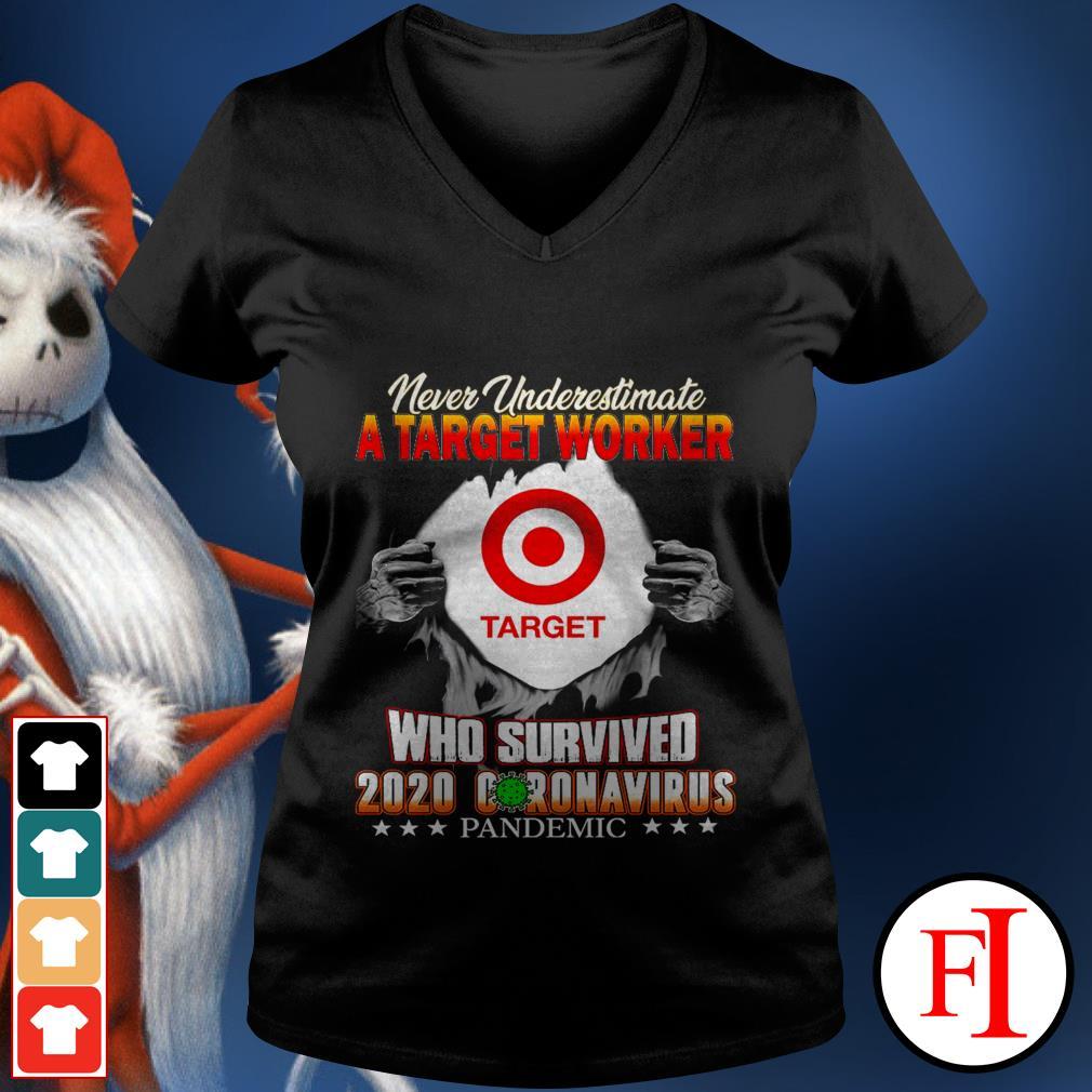 Official Never underestimate a Target Worker who survived 2020 Coronavirus pandemic black V-neck t-shirt