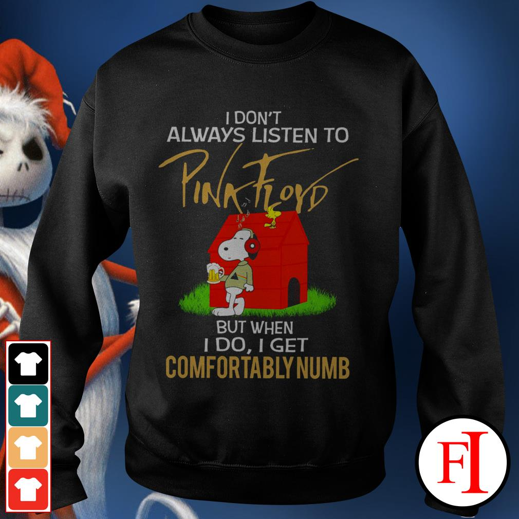 Snoopy and woodstock I don't always listen to Pink Floyd black best Sweater