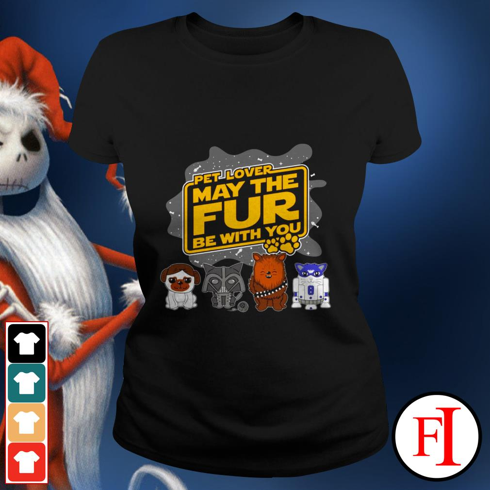 Star Wars pet lover may the fur be with you black Ladies tee