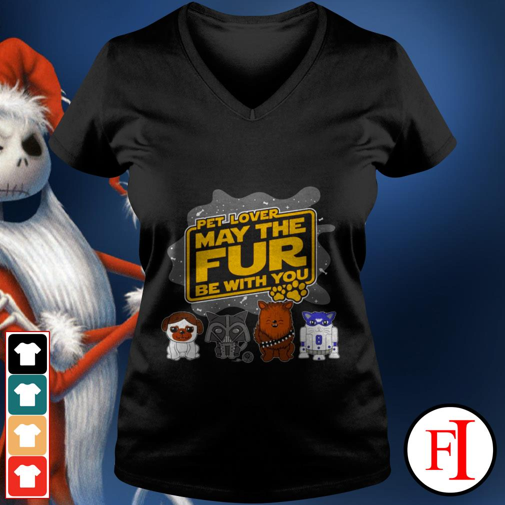 Star Wars pet lover may the fur be with you black V-neck t-shirt