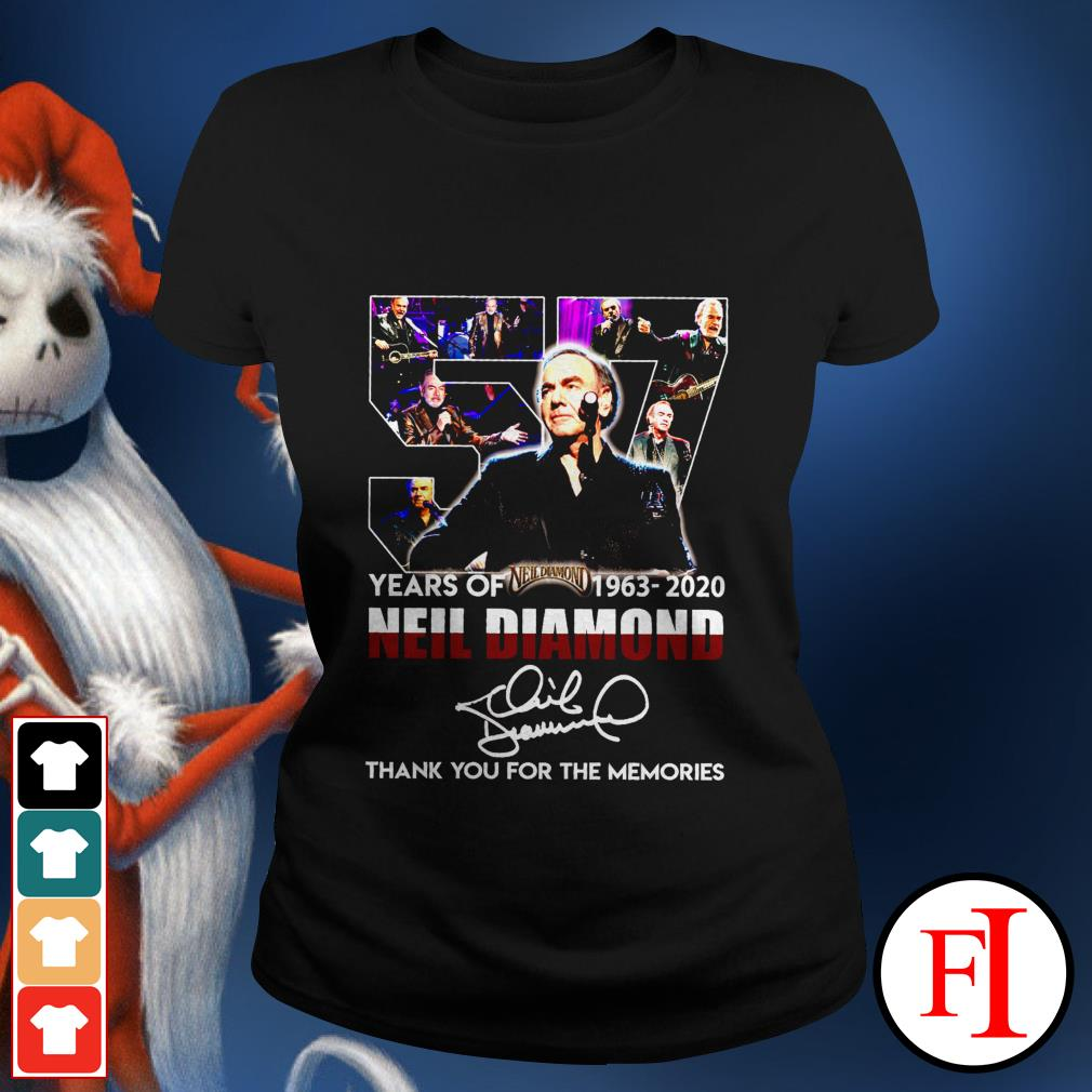 Thank you for the memories 57 Years of Neil Diamond 1963-2020 signatures Ladies tee