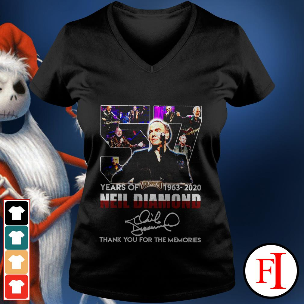 Thank you for the memories 57 Years of Neil Diamond 1963-2020 signatures V-neck t-shirt
