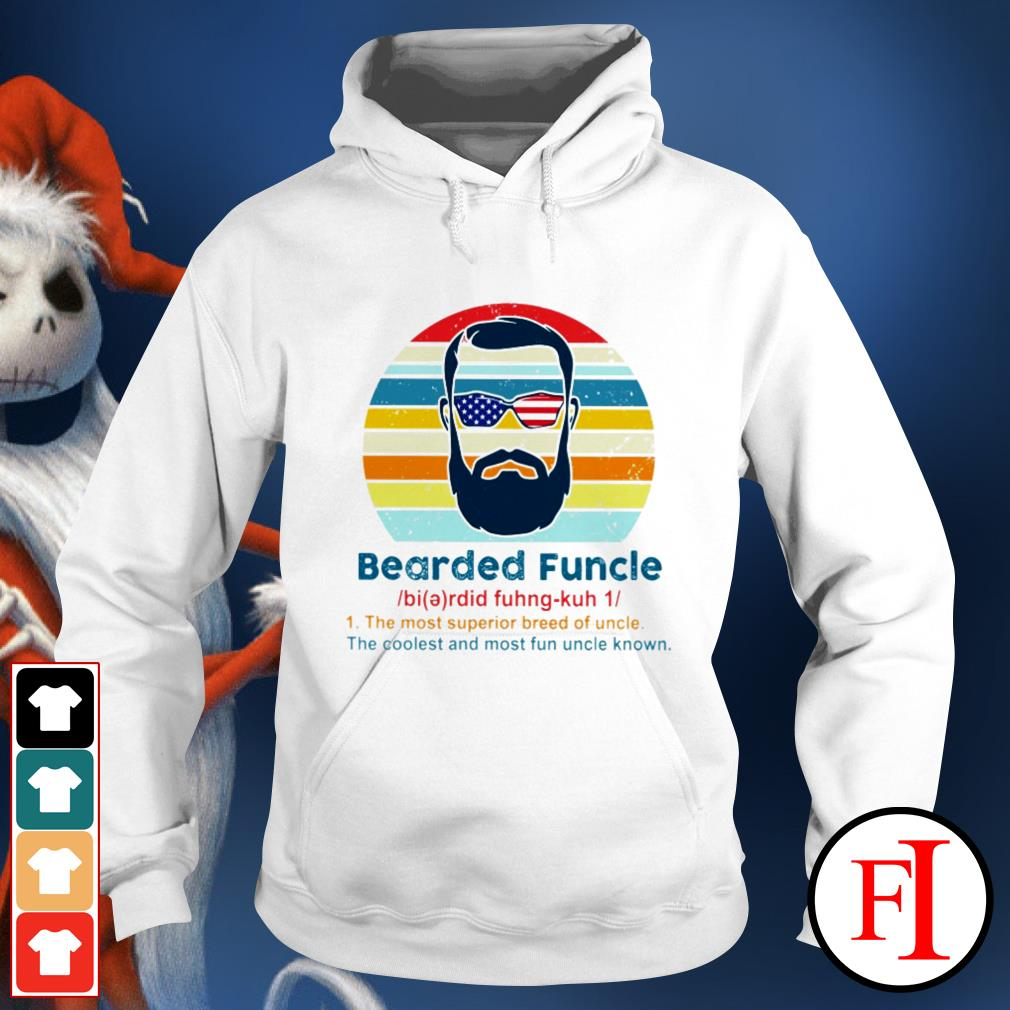 Vintage Bearded Funcle the most superior breed of uncle the coolest and most fun uncle known black Hoodie