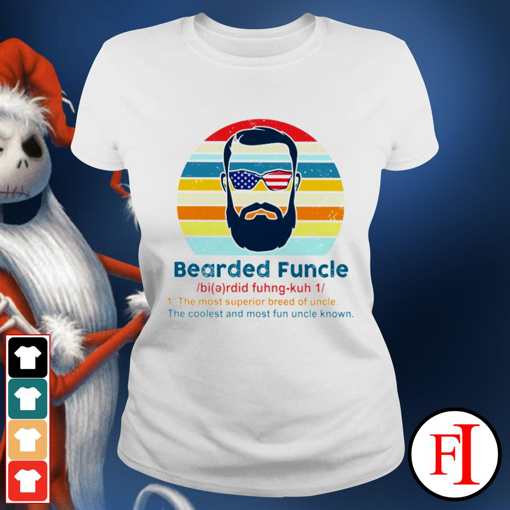 Vintage Bearded Funcle the most superior breed of uncle the coolest and most fun uncle known black Ladies tee