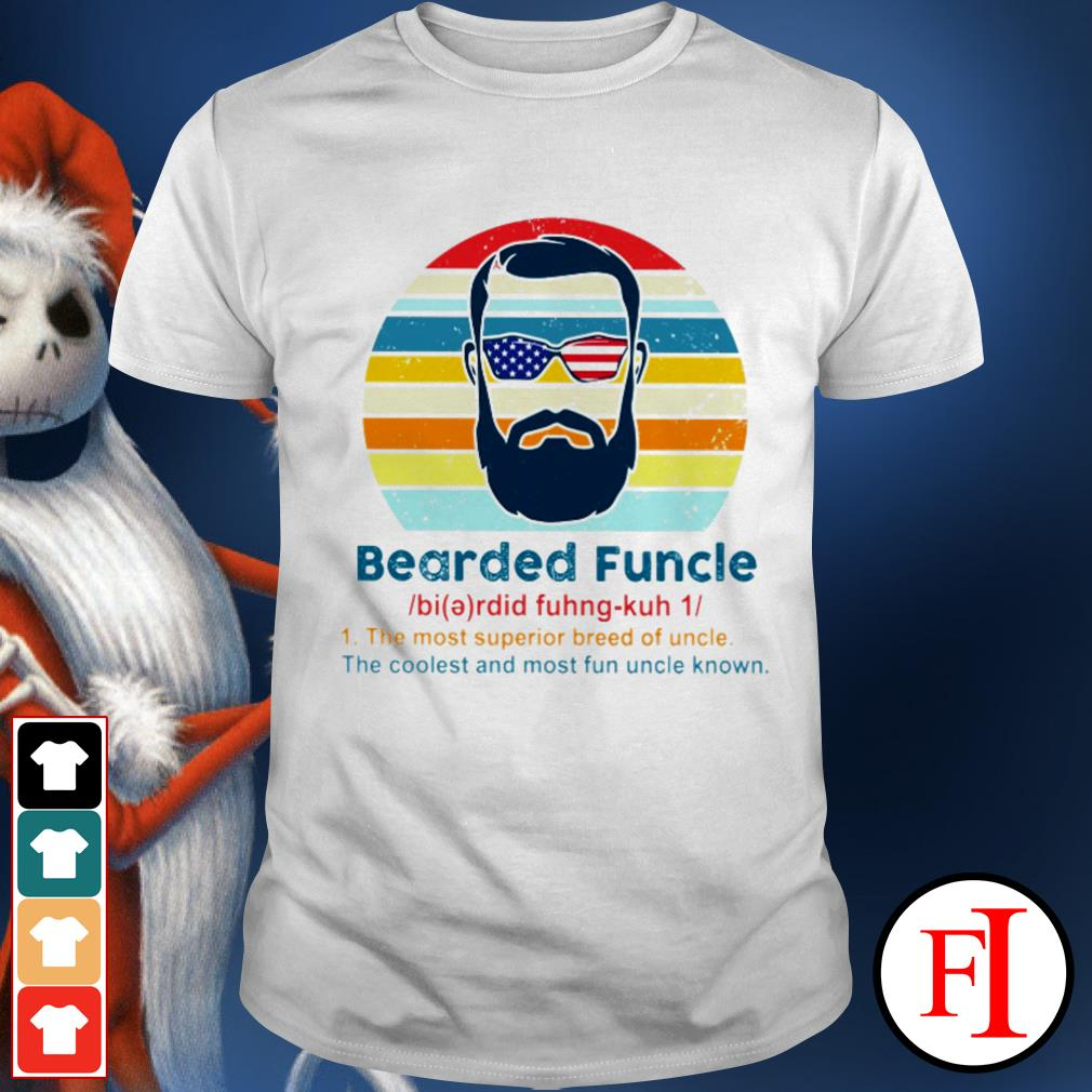 Vintage Bearded Funcle the most superior breed of uncle the coolest and most fun uncle known black shirt