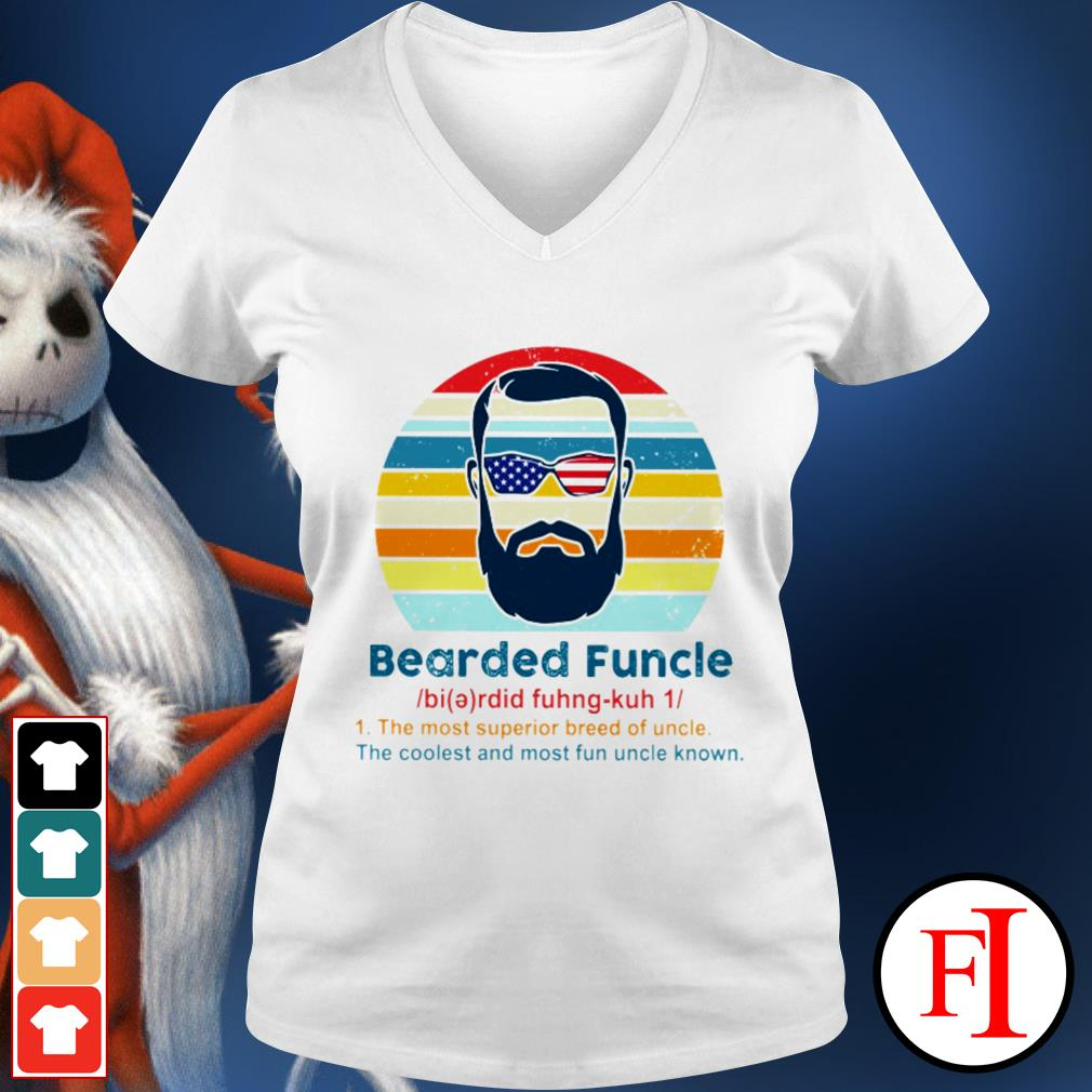 Vintage Bearded Funcle the most superior breed of uncle the coolest and most fun uncle known black V-neck t-shirt
