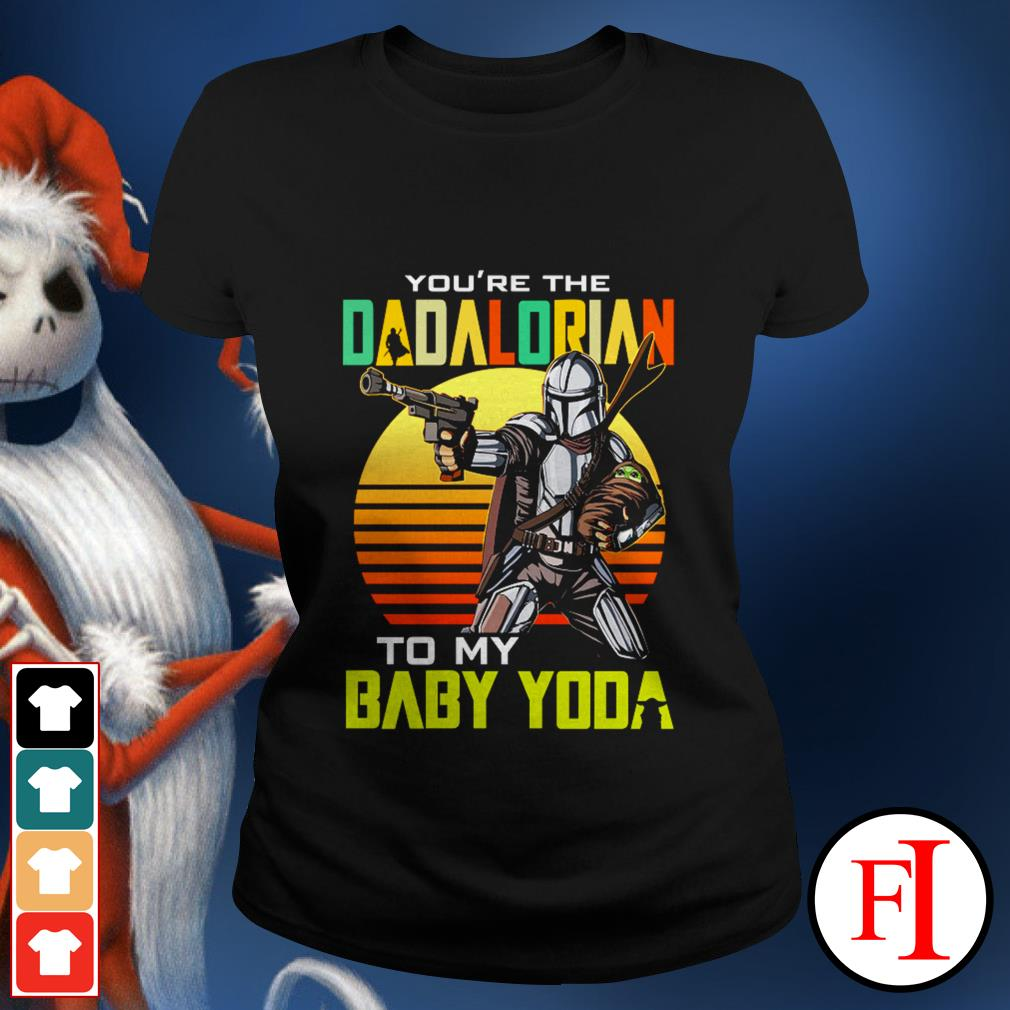 Vintage black You're the dadalorian to my baby Yoda Ladies tee