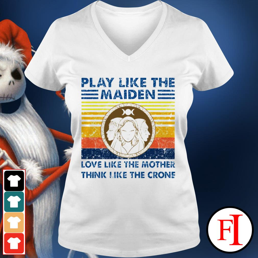 Vintage Play like the Maiden love like the mother think I like the crone black V-neck t-shirt
