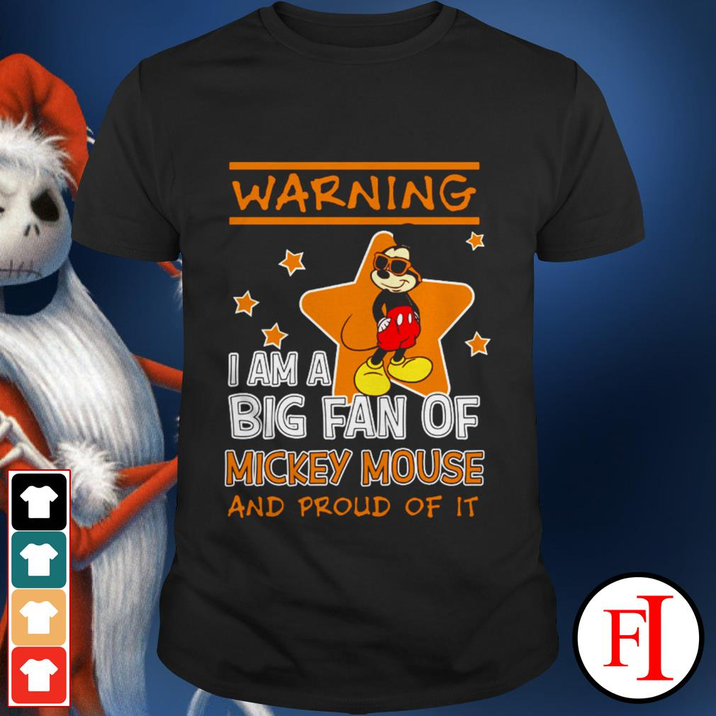 Warning I am a big fan of Mickey Mouse and proud of it black best shirt