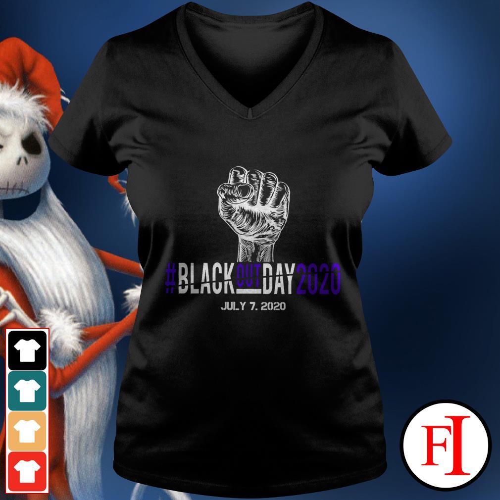 BlackoutDay2020 #Blackout day 2020 July 7th 2020 black V-neck t-shirt