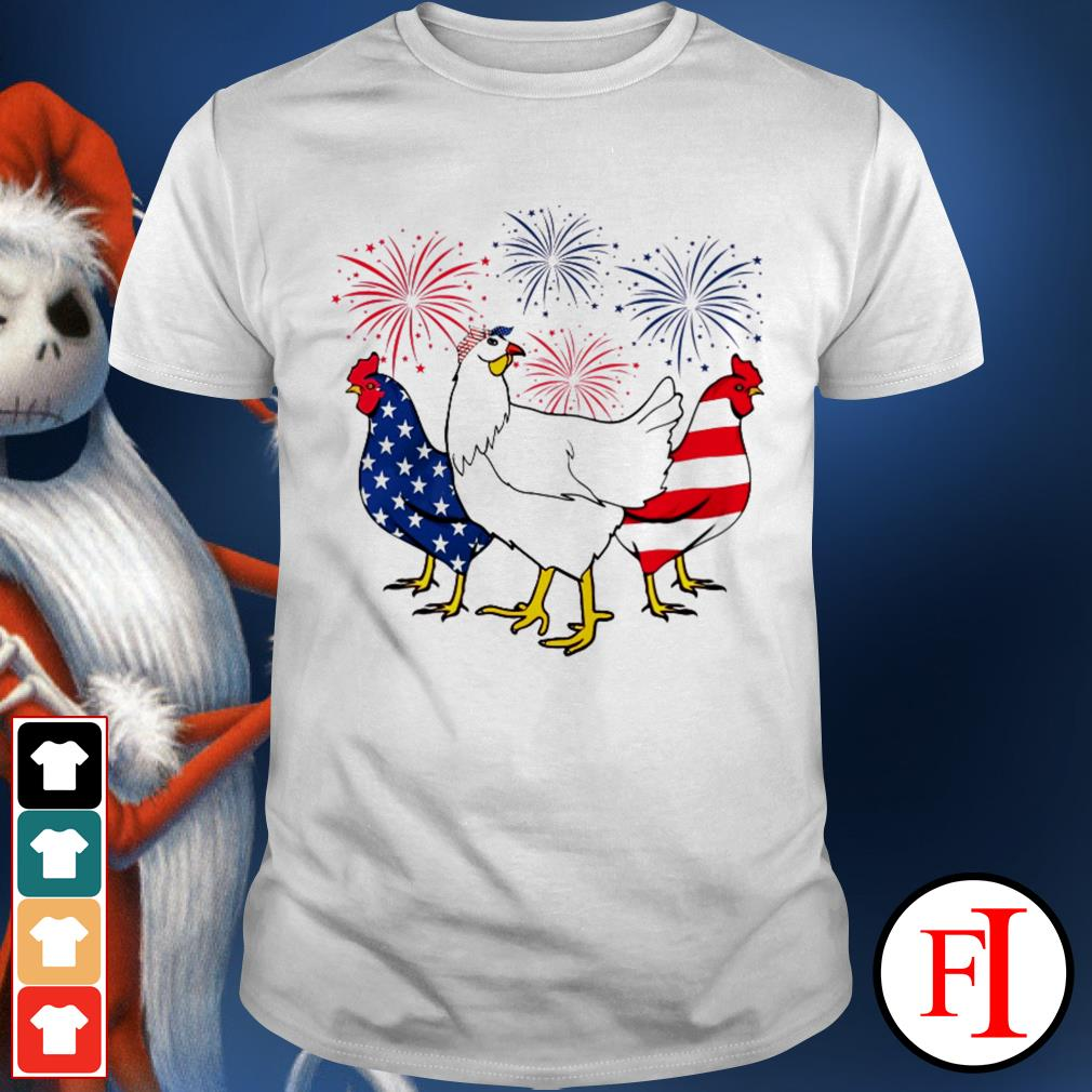 Firework Chickens red white blue 4th of July independence day best white shirt