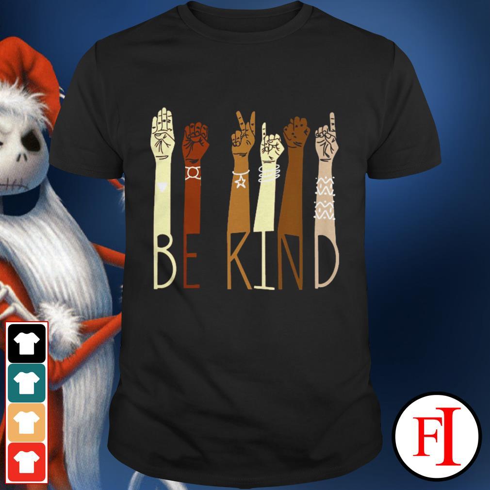 Hand sign language be kind love black shirt