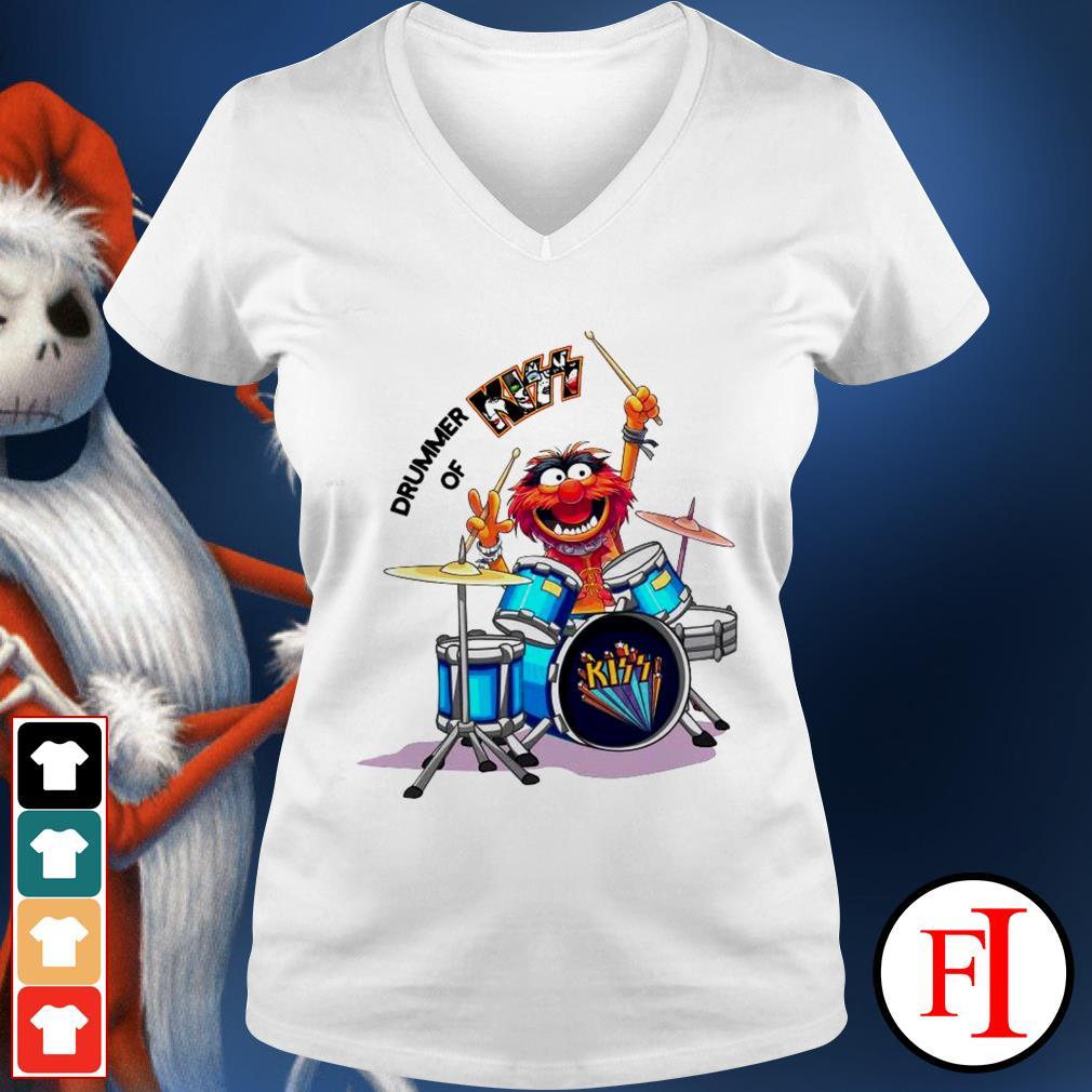 Muppet Drummer of Kiss best white V-neck t-shirt