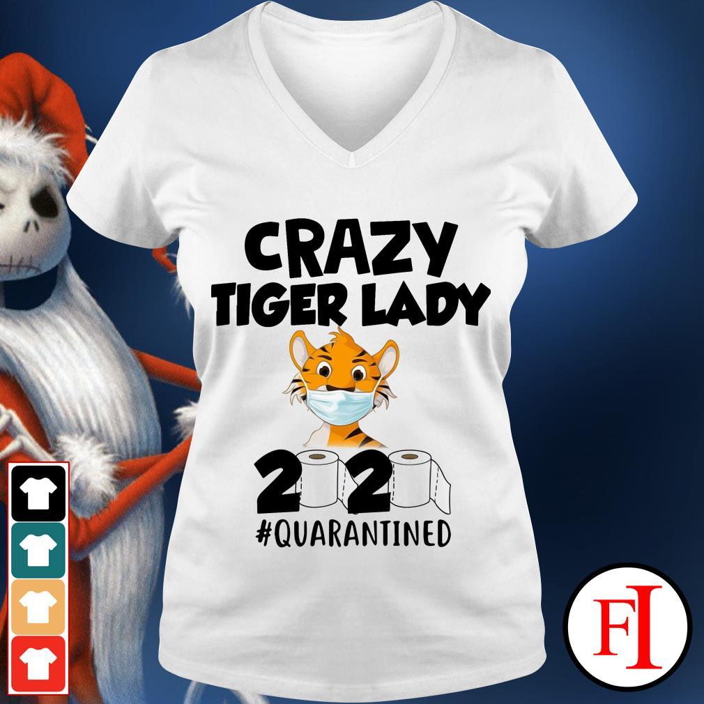 Official Crazy Tiger lady 2020 quarantined V-neck t-shirt