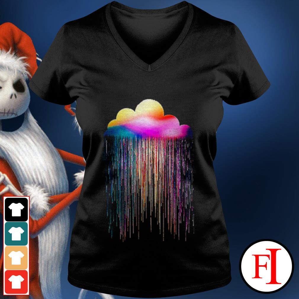 Rainbow rain black V-neck t-shirt