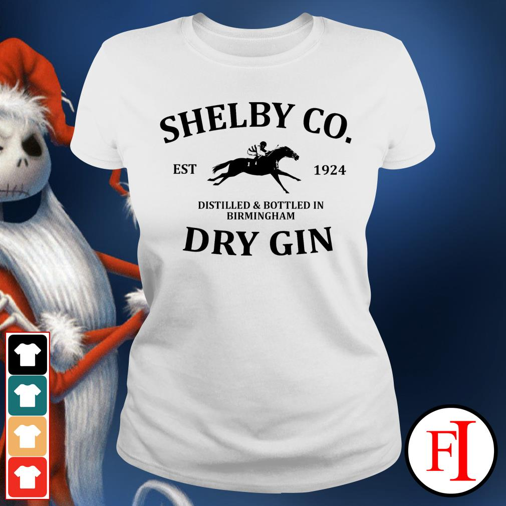 Shelby co est 1924 distilled and bottled in Birmingham dry Gin best white Ladies tee