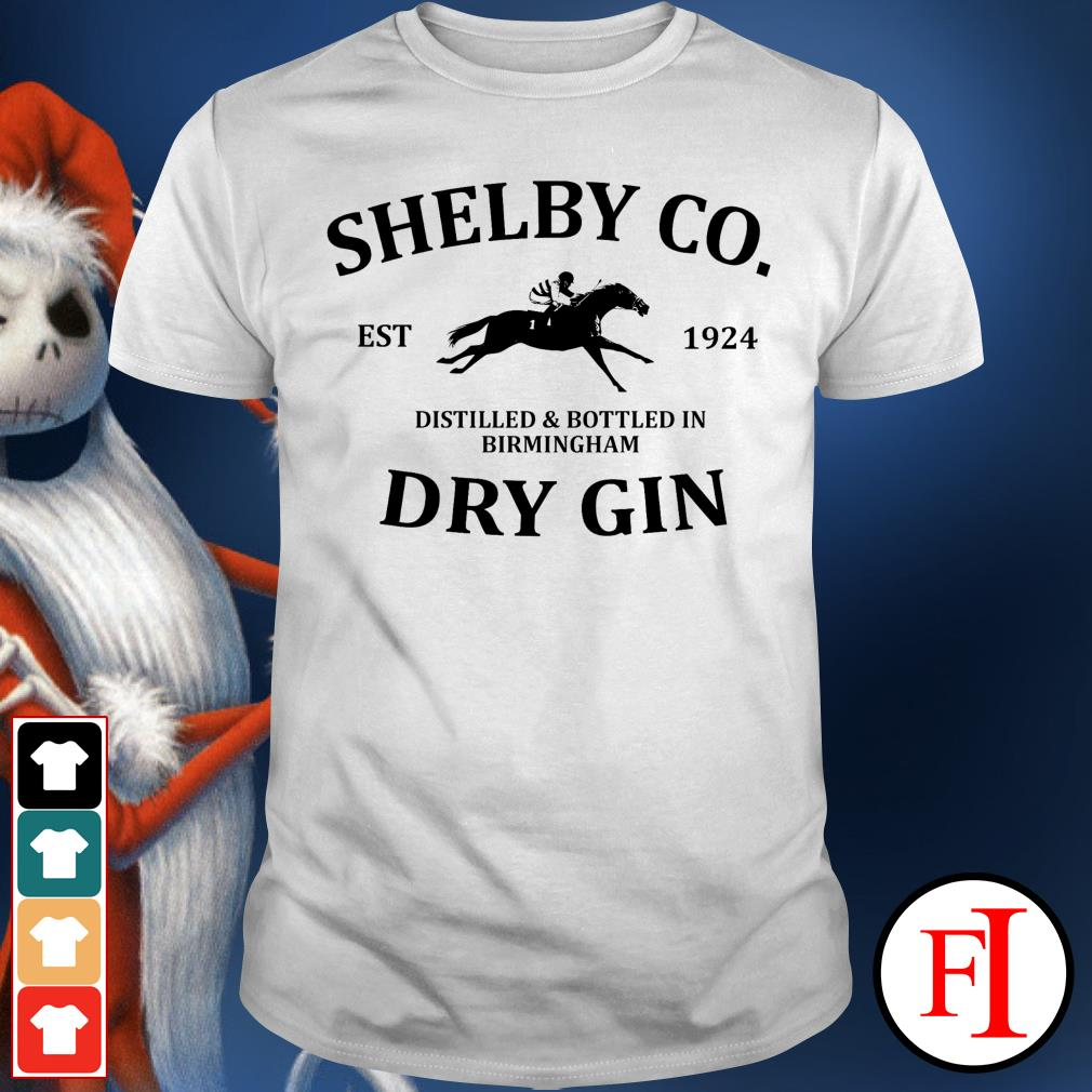 Shelby co est 1924 distilled and bottled in Birmingham dry Gin best white shirt