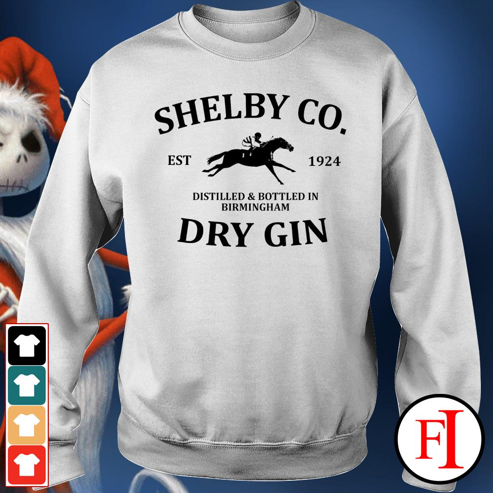 Shelby co est 1924 distilled and bottled in Birmingham dry Gin best white Sweater
