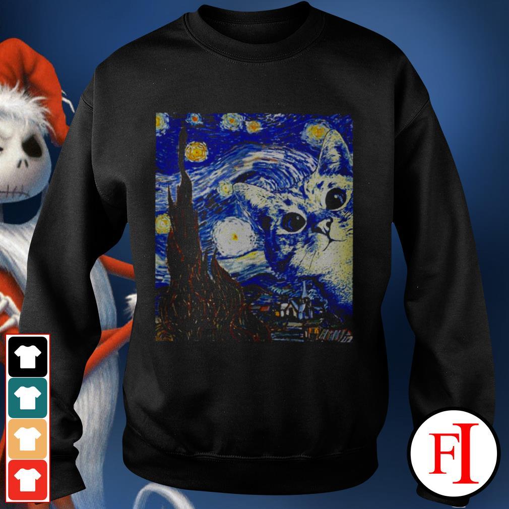 Starry Night Vincent van Gogh cat best black Sweater