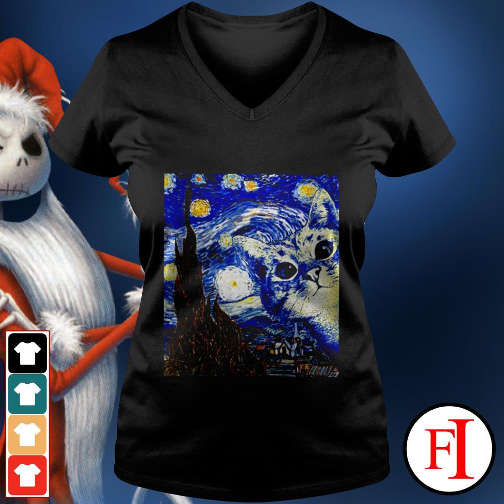 Starry Night Vincent van Gogh cat best black V-neck t-shirt