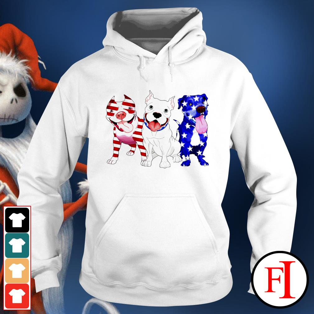 Three Pitbull red blue and white Independence day 4th of July white Hoodie
