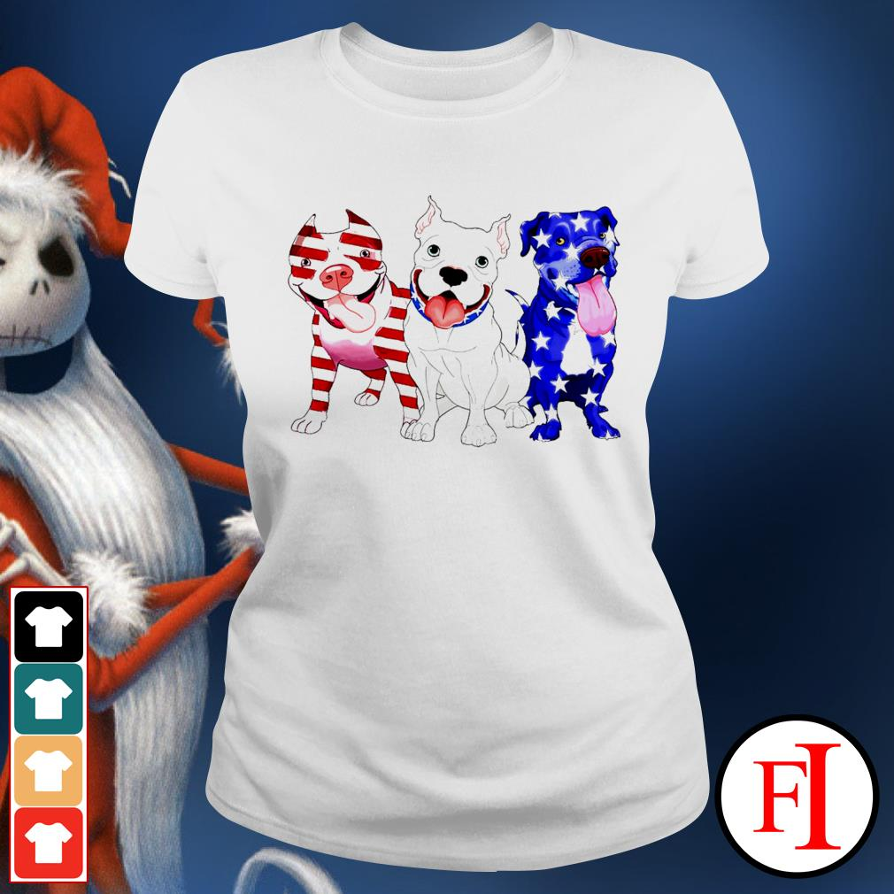Three Pitbull red blue and white Independence day 4th of July white Ladies tee