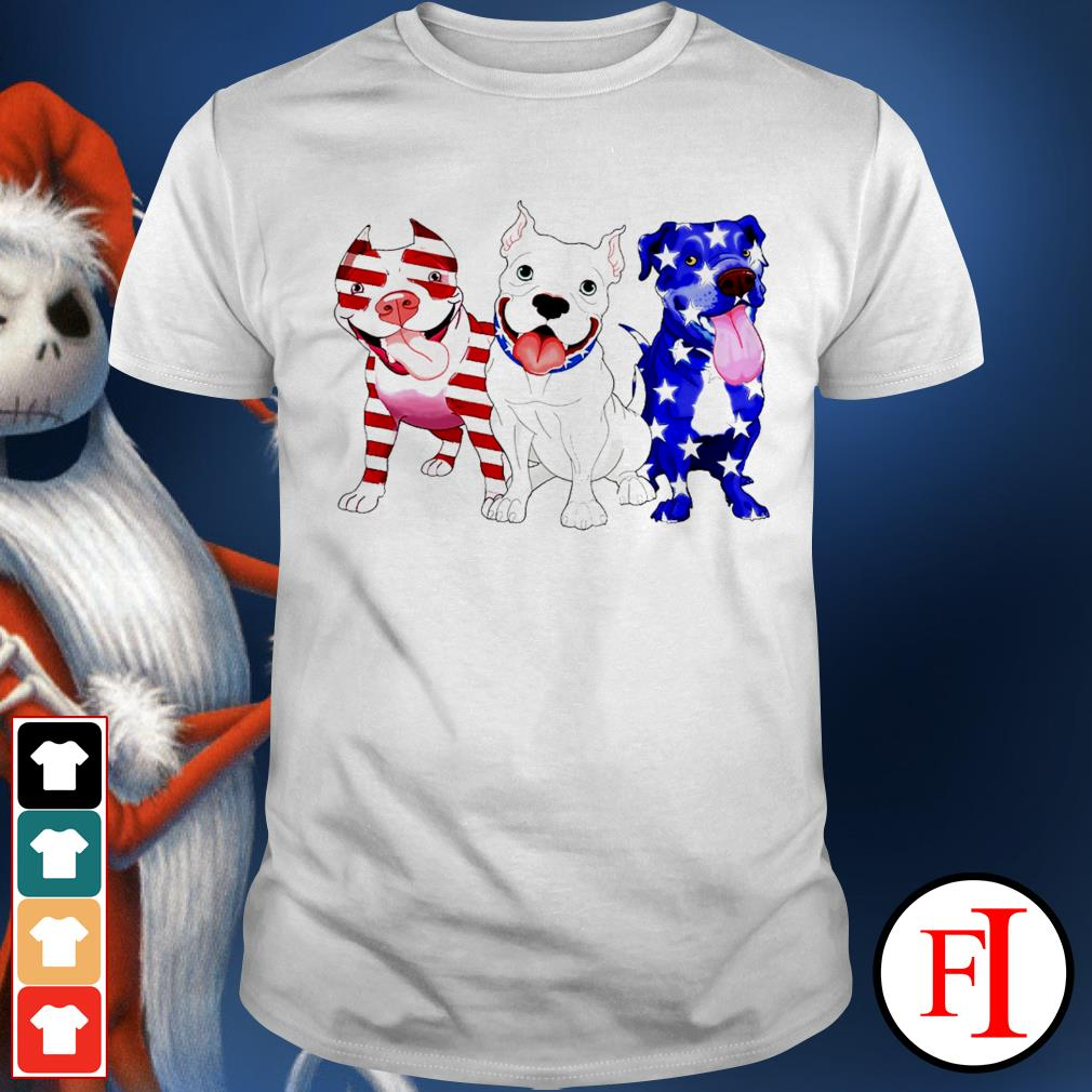 Three Pitbull red blue and white Independence day 4th of July white shirt