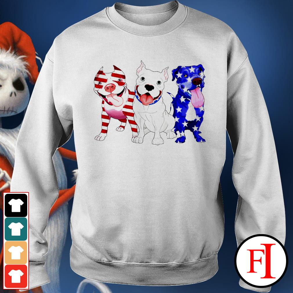 Three Pitbull red blue and white Independence day 4th of July white Sweater