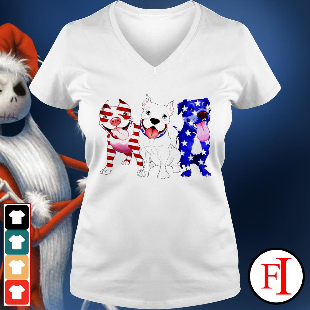 Three Pitbull red blue and white Independence day 4th of July white V-neck t-shirt