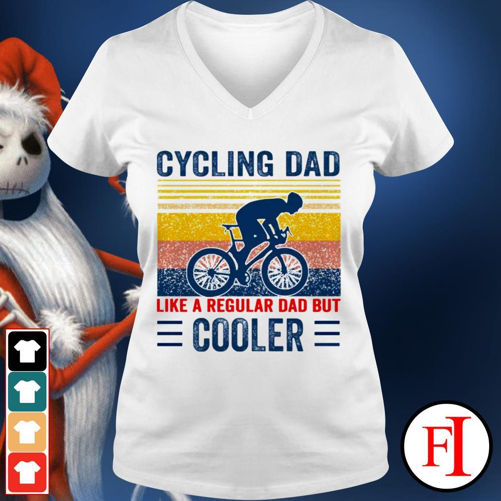 Vintage Cycling dad like a regular dad but cooler white V-neck t-shirt