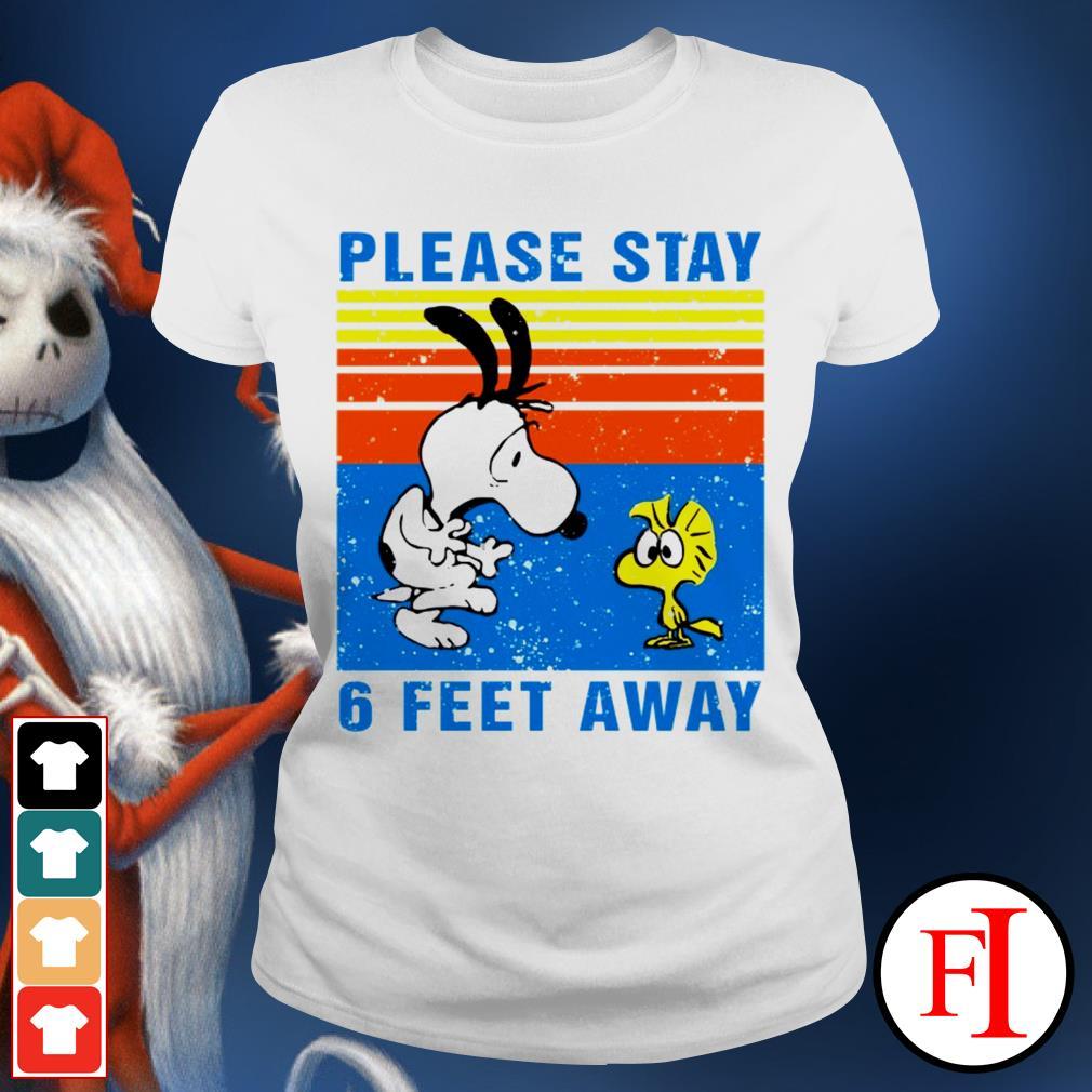 Vintage Snoopy and Woodstock please stay 6 feet away black Ladies tee