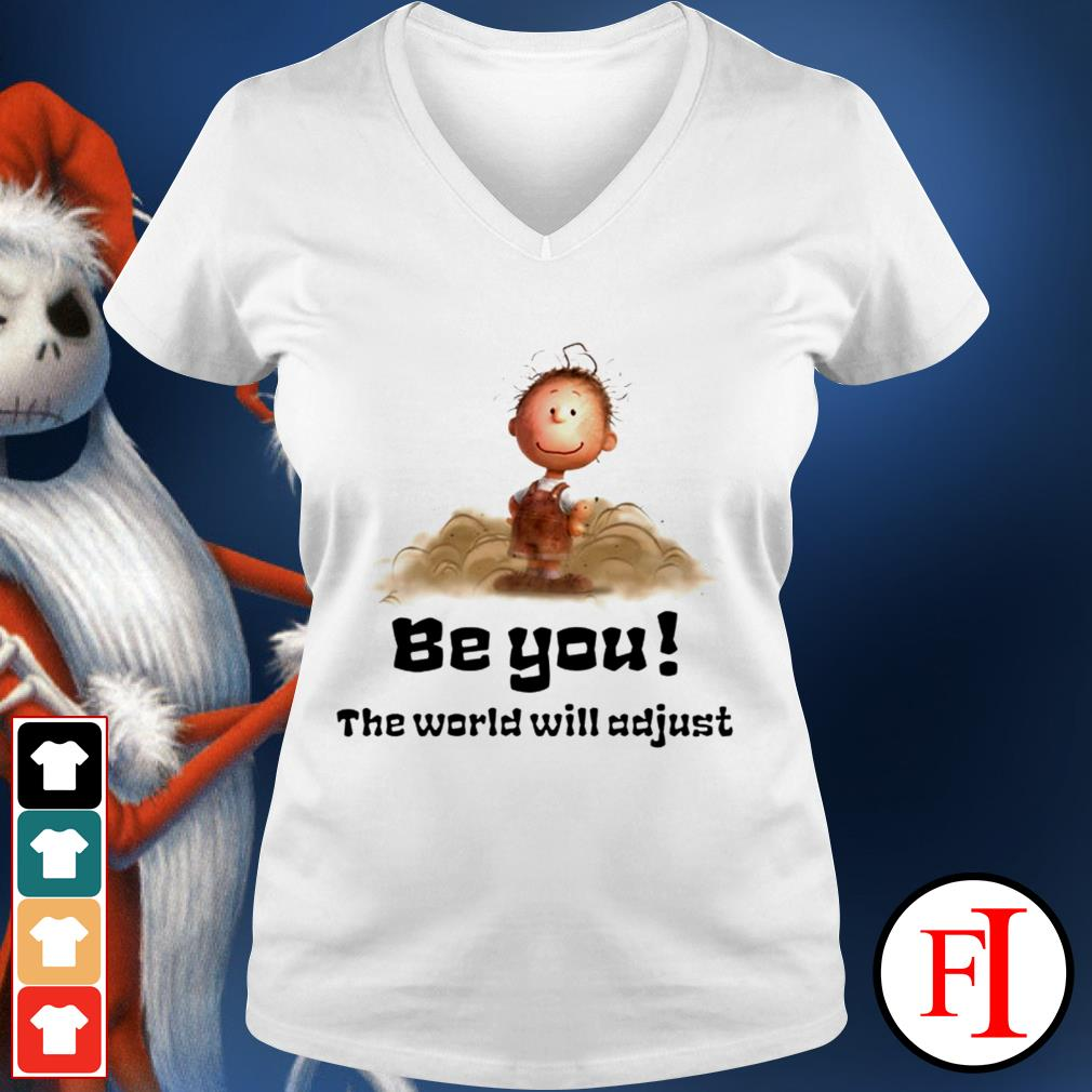 White Charlie Brown be you the world will adjust V-neck t-shirt