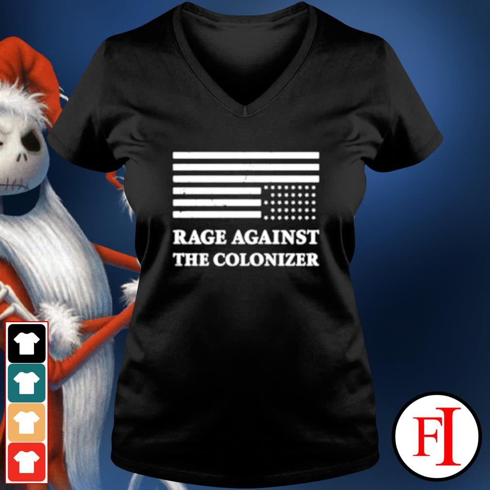 America rage against the colonizer s v-neck-t-shirt