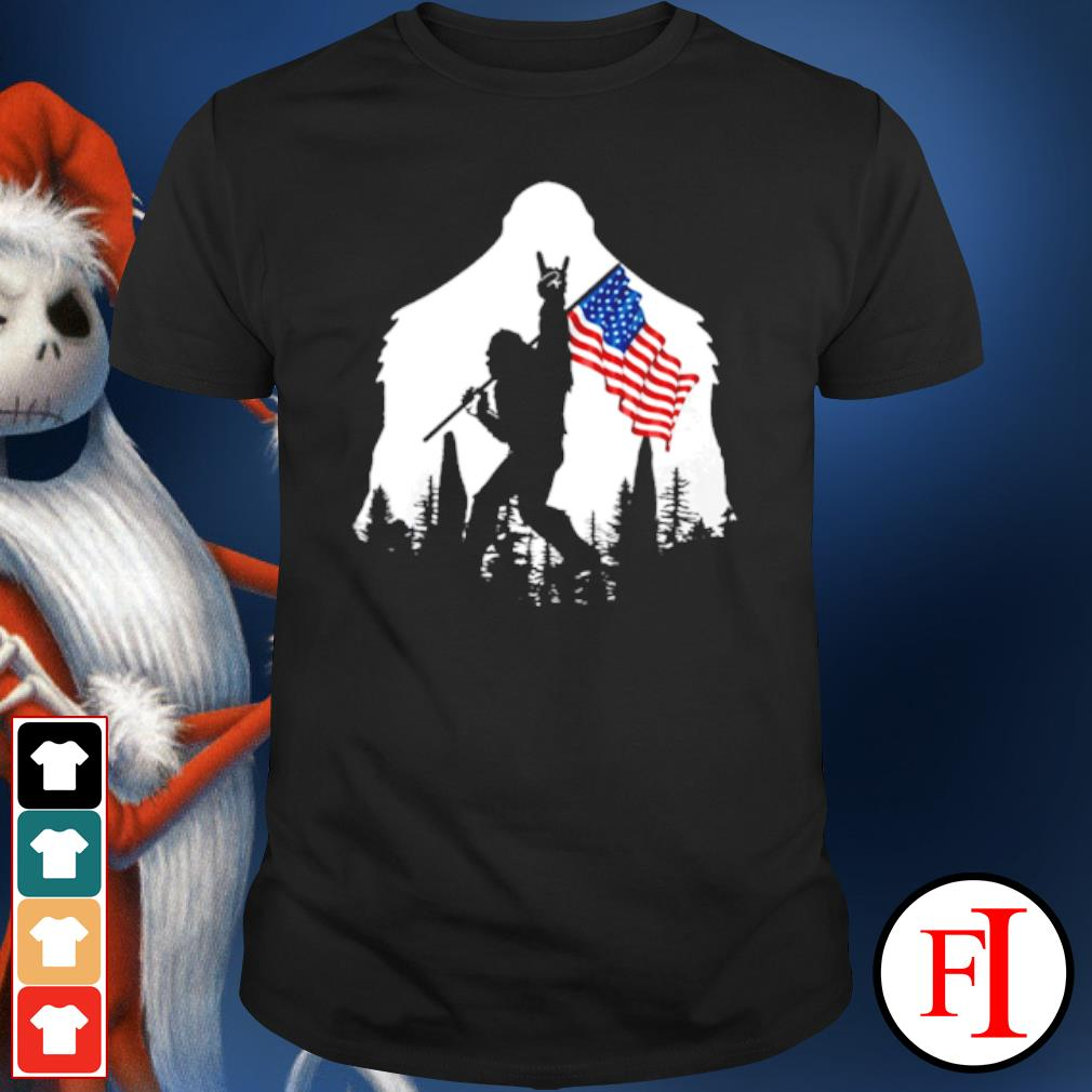 Bigfoot rock and roll American flag in the forest shirt