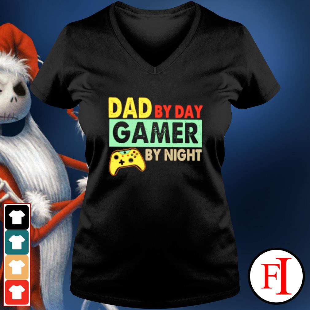 Dad by day Gamer by night s v-neck-t-shirt